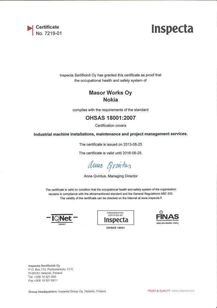 OHSAS 18001 Certificate no 7219-01